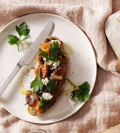 Roast Pumpkin, fetta and caramelised onion Tartine
